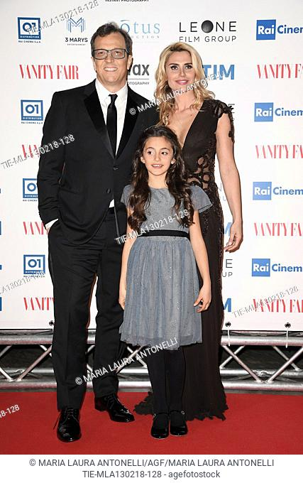 The director Gabriele Muccino with wife Angelica Russo and daughter Penelope during the red carpet of film A casa tutti bene, Rome, ITALY-12-02-2018