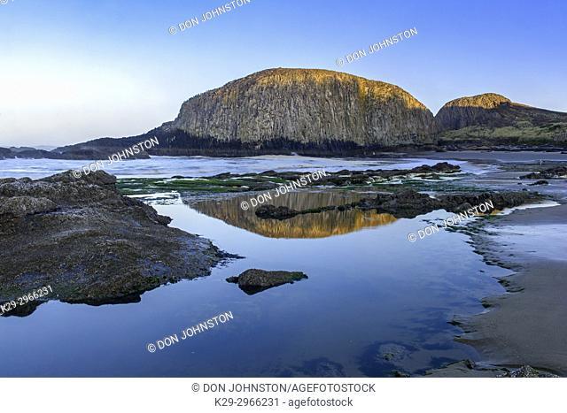 Seal Rocks beah at low tide, Seal Rock StatePark, Oregon, USA