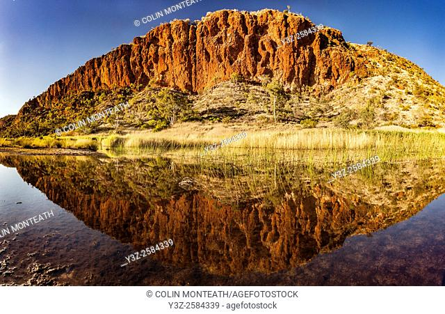 Glen Helen Gorge, dawn reflection in Finke river, MacDonnell Ranges, Northern territory, Central Australia