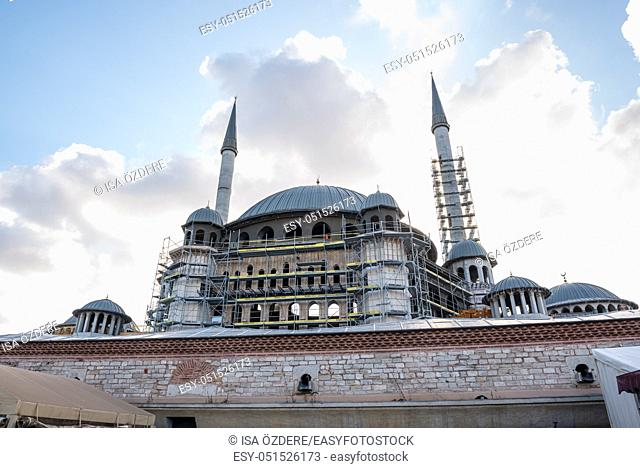 View of Taksim Mosque construction building which locate in Taksin square in beyoglu,Istanbul,Turkey