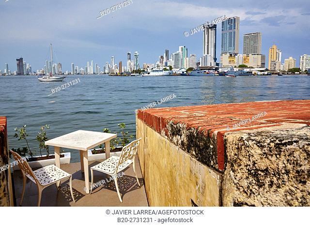 Fuerte San Sebastian del Pastelillo, Bocagrande background, Cartagena de Indias, Bolivar, Colombia, South America