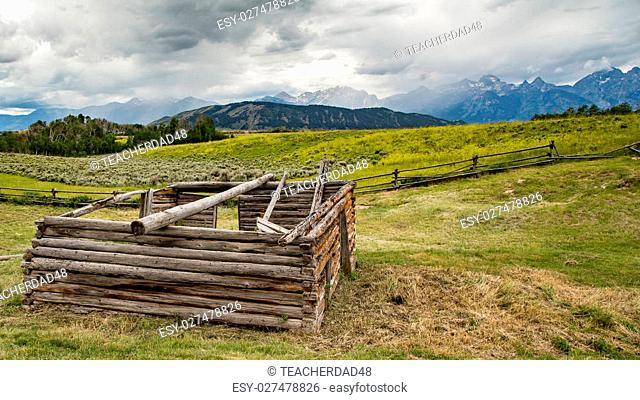 A view of the Grand Tetons from an old abandoned farm in Wyoming
