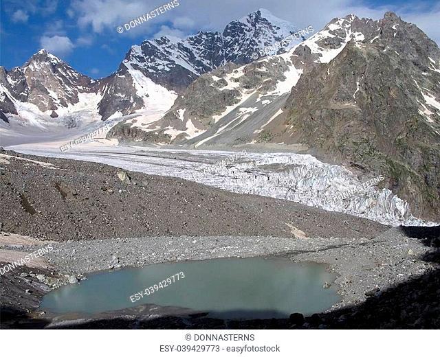 Snow-capped mountains. Caucasus Mountains