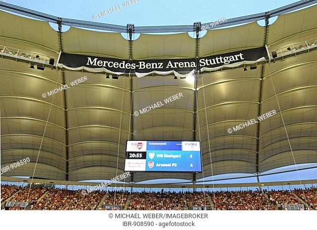 Twilight exposure of the roof construction with scoreboard in the Mercedes-Benz Arena football stadium Stuttgart, Baden-Wuerttemberg, Germany, Europe
