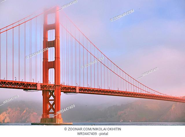 Golden Gate Bridge view from Fort Point at morning, San Francisco, California, USA