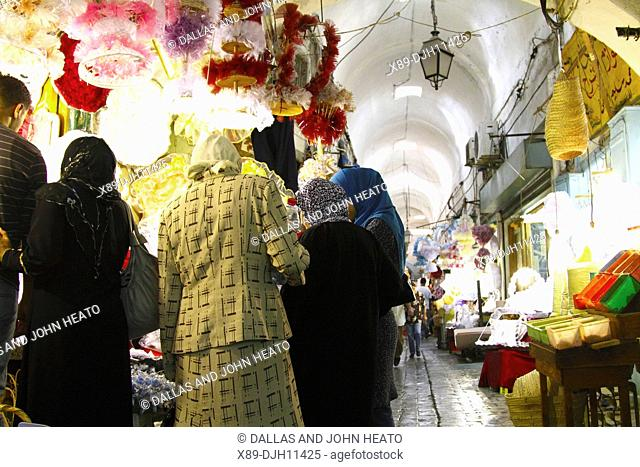 Africa, North Africa, Tunisia, Tunis, Covered Alley in the Medina Marketplace, Souk