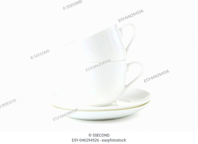 White coffee cups isolated on white