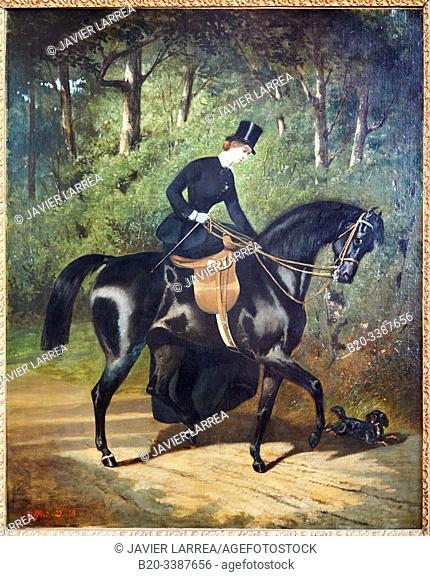 """""""L'écuyère Kippler sur sa jument noire"""""""", 1850, Alfred de Dreux, Petit Palais Musée des Beaux Arts de la Ville de Paris, France, Europe"""