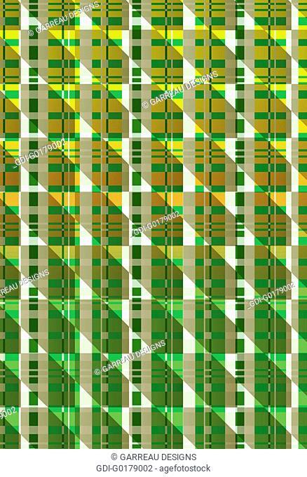 Green and orange geometric plaid design