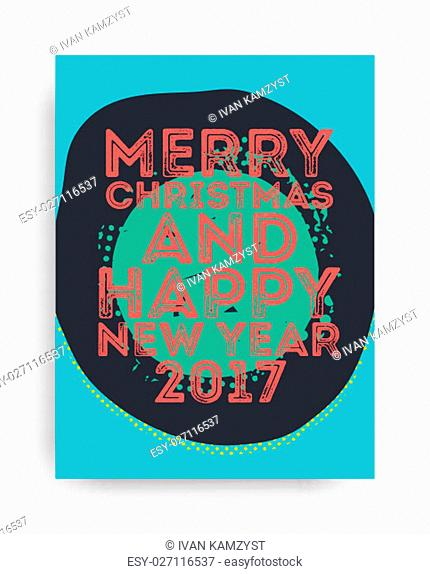 Color Merry Christmas and Happy New Year greeting card. Vector holiday illustration