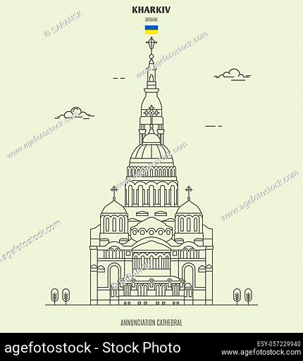 Annunciation Cathedral in Kharkiv, Ukraine. Landmark icon in linear style