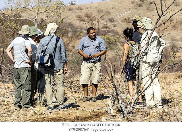 Group of people rhino trekking at Huab Under Canvas, Damaraland, Namibia, Africa