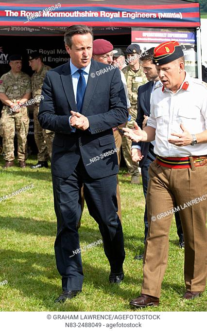 David Cameron chats to military personnel. The Right Honourable David Cameron, Prime Minister of the United Kingdom and Liz Truss