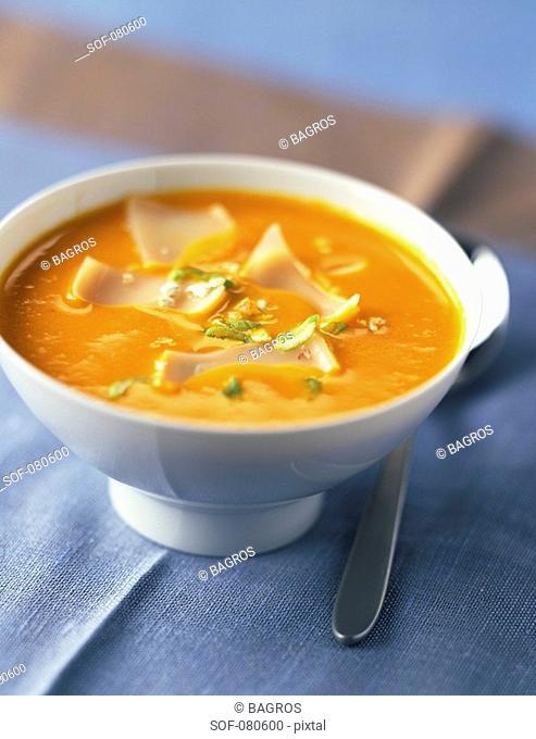 pumpkin soup with comté and oatmeal
