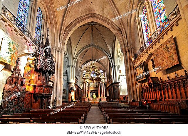 Interior of the Saint Maurice Cathedral of Angers the Roman Catholic Diocese of Angers in France