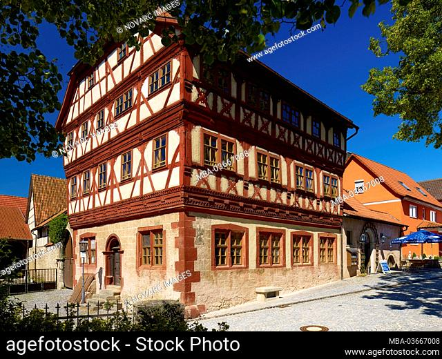 "Town hall with Centstuben in Stockheim, Rh""n-Grabfeld, Lower Franconia, Bavaria, Germany"