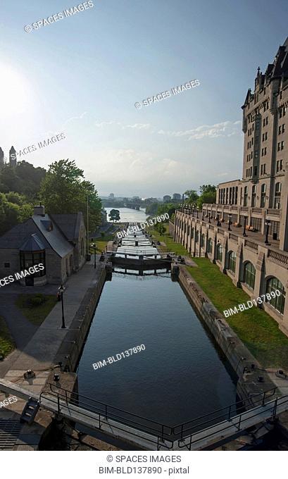 Locks of Rideau Canal under blue sky, Ottawa, Ontario, Canada