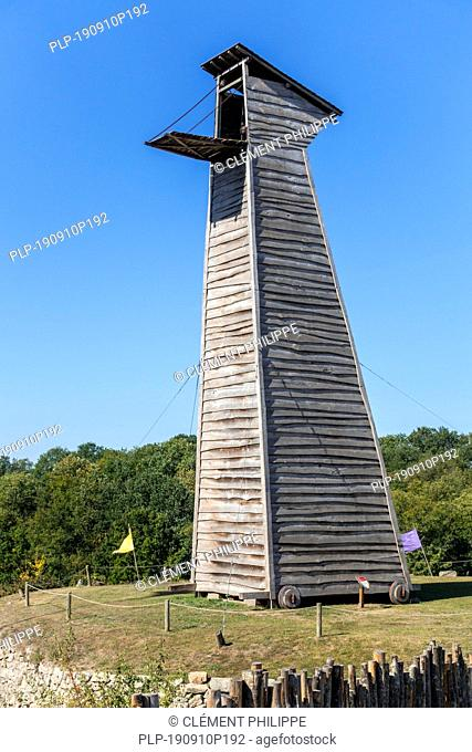 Medieval siege tower / mobile rectangular wooden breaching tower with lowered gangplank