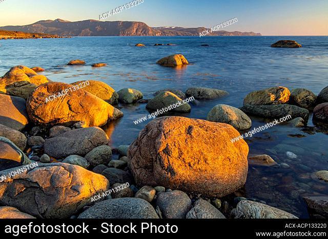 Green Point Rocks and coast at sunset, Gros Morne National Park, Newfoundland and Labrador NL, Canada