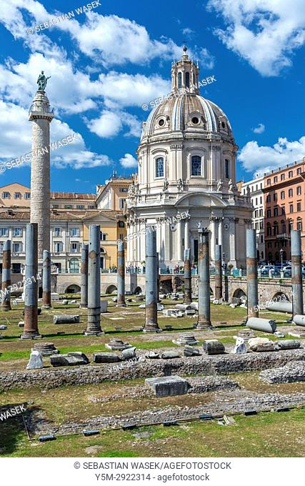 Trajan's Column at Piazza Venezia, Rome, Lazio, Italy, Europe