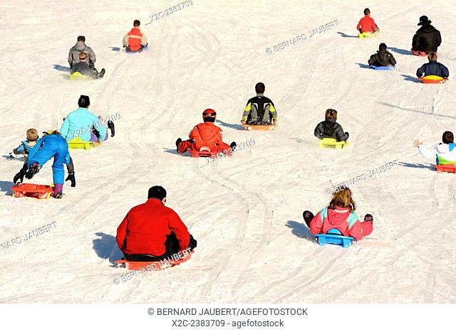 Sledging. Le Mont-Dore ski resort, Massif of Sancy, Parc Naturel Regional des Volcans d'Auvergne, Auvergne, France