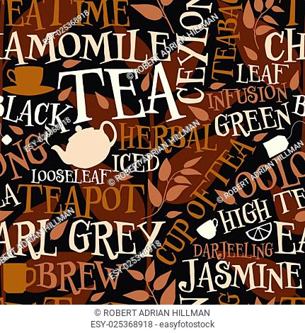 Vector seamless tile of tea words and symbols