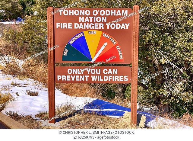 Tohono O'odham Indian Nation in Arizona fire danger today marker
