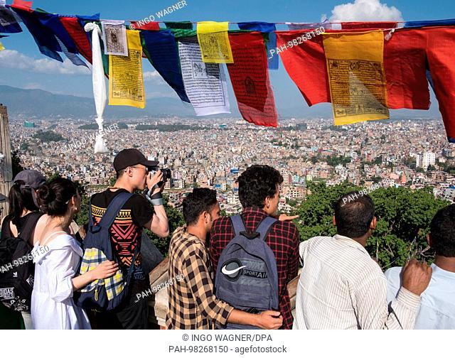 View from the Stupa of Swayambhunath over the Nepali capital Kathmandu. | usage worldwide. - Kathmandu/Nepal