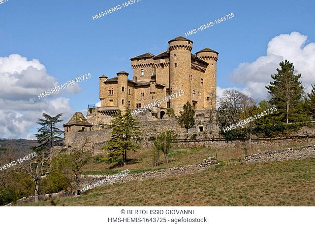 France, Aveyron, Compeyre Cabrieres Castle (castle) of the 12th 14th century near Millau