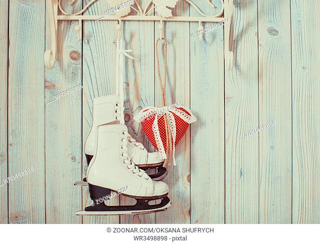 Valentine vintage decor - red gingham hearts on the hooks