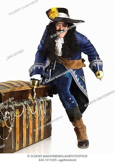 Laughing pirate with a sword and a hook opening a treasure chest full of gold and jewels  Isolated on white background