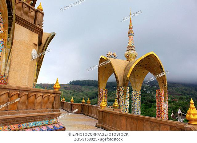 Beautiful view from the passageway and pagoda of one of the levels of the temple at Pha Sorn Kaew, Khao Kor, Phetchabun, Thailand