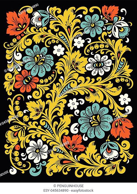 Traditional Russian ornament with elements of folk Khokhloma style. A floral print in bright colors. Vector illustration