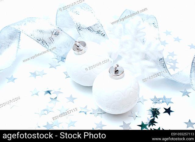 Christmas white balls on white background