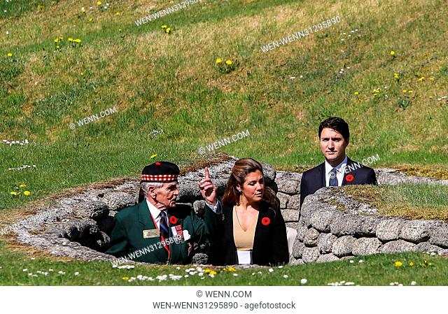 The Prince of Wales, The Duke of Cambridge and Prince Harry attend the Centenary of the Battle of Vimy Ridge Featuring: Justin Trudeau Where: Vimy