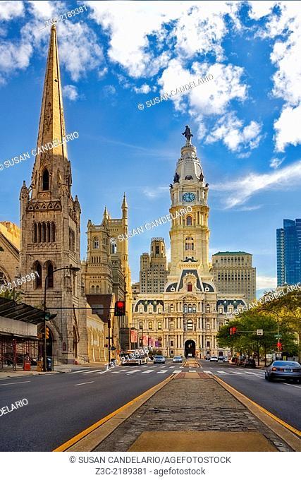 Exterior view to the iconic Philadelphia City Hall