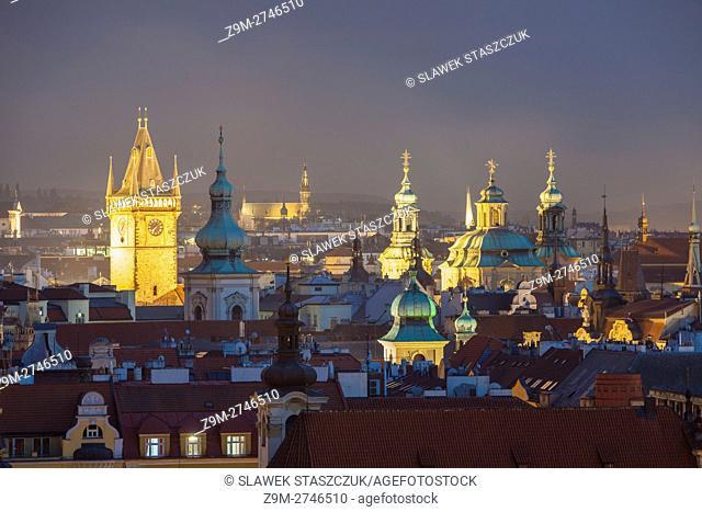 Night falls over Prague old town, Czech Republic