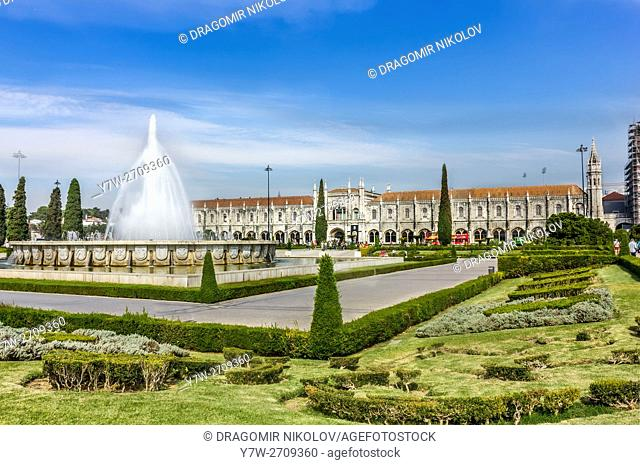 Garden Praca do Imperio and Jeronimos Monastery in Lisbon, Portugal, Belem District