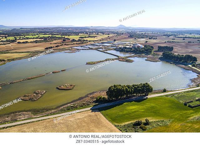 Aerial view of Laguna del Saladar. Complejo Lagunar de Corral-Rubio. Albacete province, Castile-La Mancha, Spain