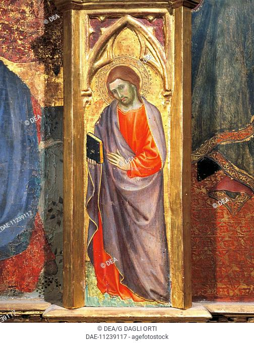 A saint, detail from the Assumption of the Virgin, triptych, 1401, Taddeo di Bartolo (ca 1362- 1422), altarpiece, Cathedral of St Mary of the Assumption
