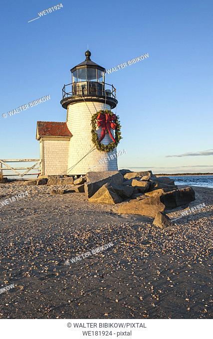 USA, New England, Massachusetts, Nantucket Island, Nantucket Town, Brant Point Lighthouse with a Christmas wreath
