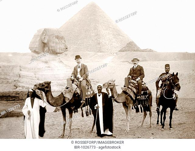 Historic photograph, torist group at the Pyramids of Giza, Egypt, Africa