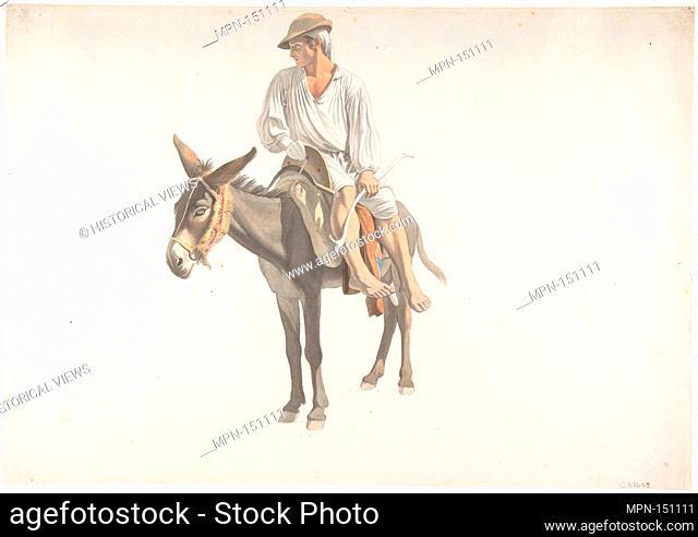 Peasant on a Donkey. Artist: Giovanni Battista (Titta) Lusieri (Italian, Rome 1754-1821 Athens); Date: ca. 1783-87; Medium: Watercolor