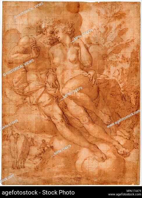 Jupiter and Io (recto); sketch of a male figure stabbing himself in the chest (verso). Artist: Attributed to Francesco Salviati (Francesco de' Rossi) (Italian
