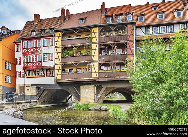 View of the half-timbered houses of the Kraemerbruecke (Merchants bridge) and the river Gera. The Kraemerbruecke is located in the old town of Erfurt