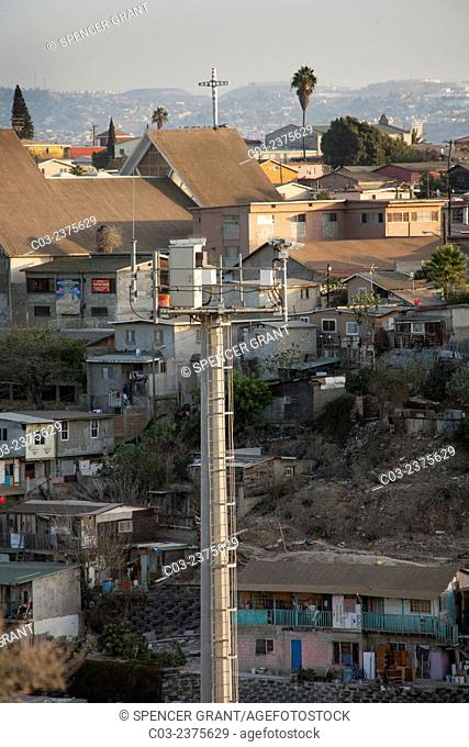 Opposite the international fence at the Colonia Libertad district of Tijuana on the U.S./Mexico border a television watchtower surveys attempts at illegal...