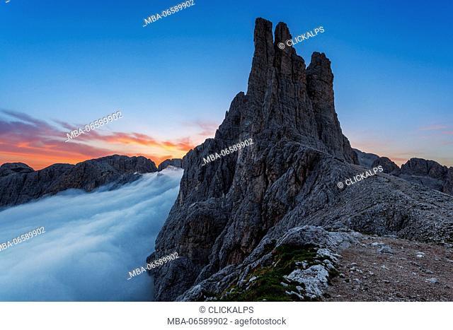 Vajolet Towers, Rosengarten-Catinaccio group, Western Dolomites, Fassa Valley, Trentino, Italy