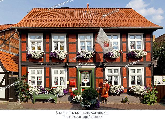 half-timbered house Villa Romantika, Hitzacker, Lower Saxony, Germany