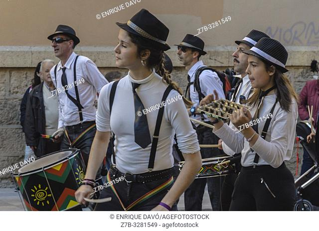 View of disguises with musicians in Carnival celebrations, Cuenca city, Spain