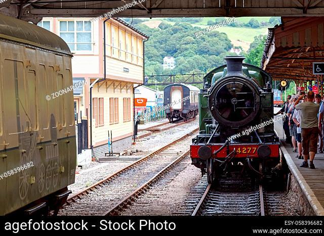KINGSWEAR, DEVON/UK - JULY 28 : 4277 BR Steam Locomotive GWR 4200 Class 2-8-0T tank Engine at Kingswear Devon on July 28, 2012. Unidentified people